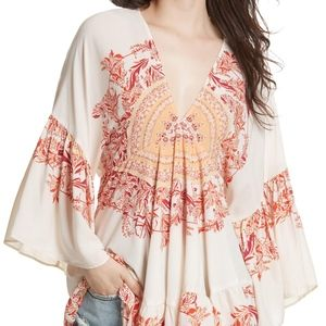 NWOT Free People Sunset Dreams Ruffle Top